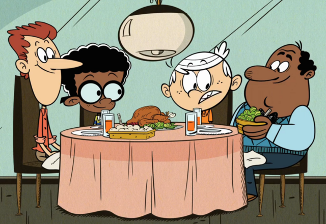 File:Howard and Harold McBride, Clyde's dads, with Lincoln from the Loud House.png