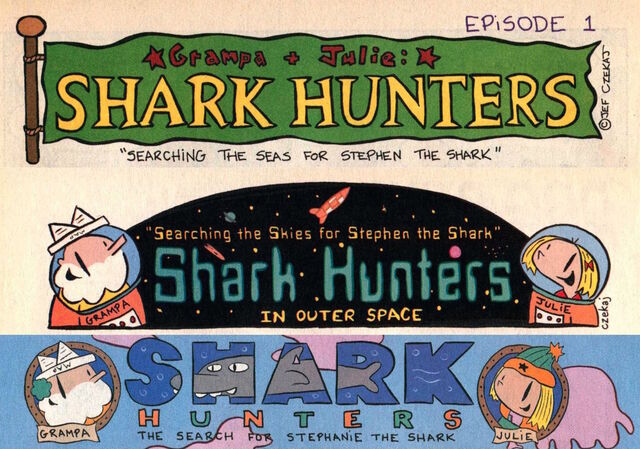 File:Grampa Julie Shark Hunters Intro Panels for all 3 story arcs.jpg