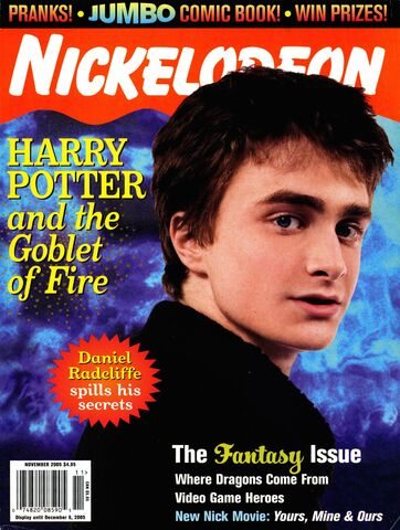 File:NIckelodeon Magazine cover November 2005 Harry Potter Goblet Fire Daniel Radcliffe.jpg