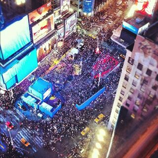 The concert almost fills Times Square completely
