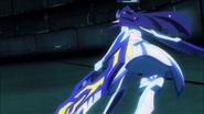 Queen evades Shiro's cannon blast