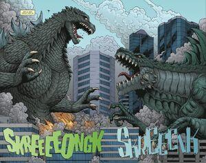Godzilla and Zilla battle each other.