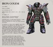 The Iron Golem page from nwn2