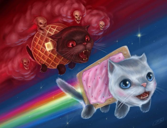 Nyan Cat And Waffle Cat Nyan Cat Painting Finalb Small