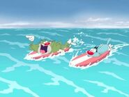 Jack and Oggy surfing