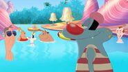 Oggy surveys the pool