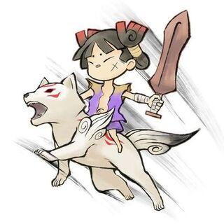 Kuni riding Chibiterasu.