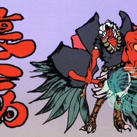 Artwork of a Great Tengu in Chaos Mode.