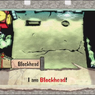 A Blockhead introduces himself.