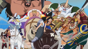 Luffy and the Corrida Colosseum Gladiators Going After Doflamingo.png