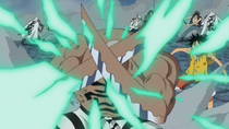 Daz Protects Luffy From Mihawk