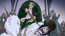 Sanji Holds Caesar Hostage