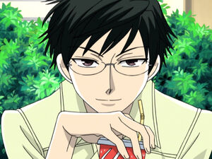 Kyoya Ootori with a drink