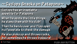 Cyclops snacks on patapons