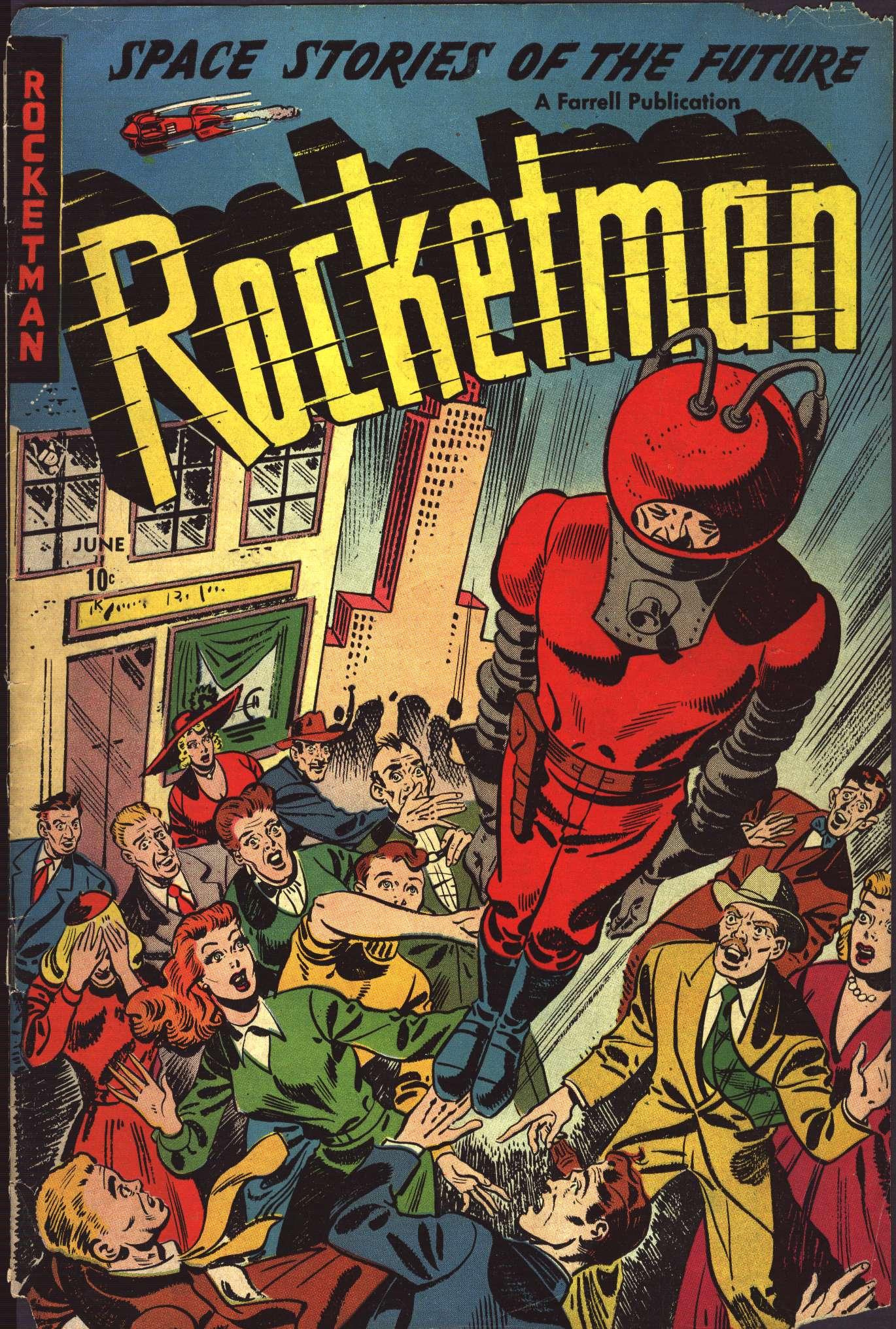 Comic Book Cover Art Sale : Rocketman ajax farrell public domain super heroes