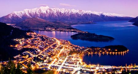 Beautiful city lights aerial Queenstown
