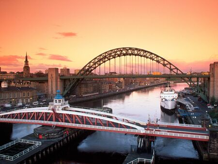 Tyne Bridge and Swing Bridge, Newcastle Upon Tyne, United Kingdom