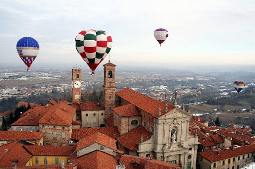 Hot-air balloons over Mondovi, Italy