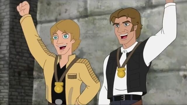 File:Luke and Han cheer Rebel, Let's Go.jpg