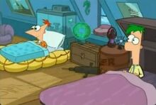 ERROR-Phineas' blankets are outside the bed