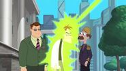 Doofenshmirtz getting hit with his 90-Degree-Turn-inator