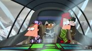 Phineas, Ferb, and the gang riding on a plane through the mountains