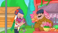 Candace enjoying the bouquet