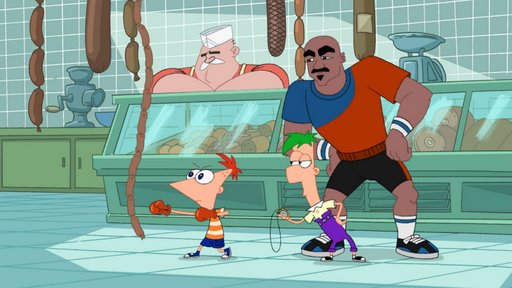 File:Phineas punching a string of sausages.jpg