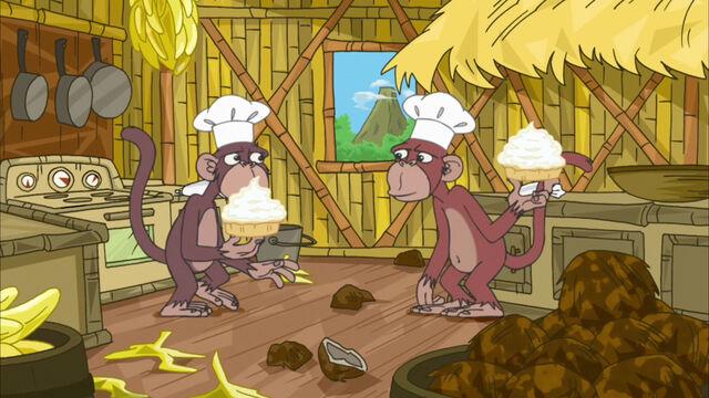 File:Monkeys have a pie fight.jpg
