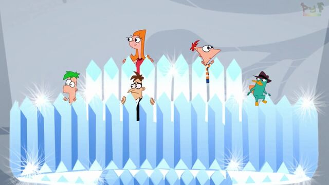 File:Phineas, Ferb, Candy, Perry, and Doof in Chandelier.jpg