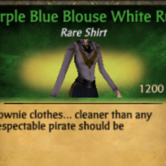 Purple Blue Blouse White Ruff