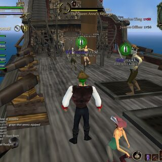 The deck of The Queen Anne's Revenge being boarded by raiding pirates.
