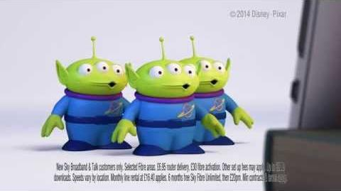 Sky Fibre Unlimited advert with the Aliens from Toy Story