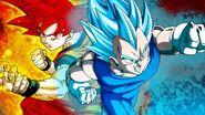 Goku i Vegeta Super Saiyanin God (fanart autorstwa ArmorKingTV21, użytkownika DeviantArtu)