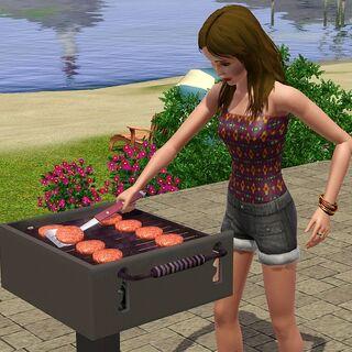 Sim grillujący hamburgery