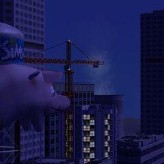 Wieżowce w The Sims 2 nocą