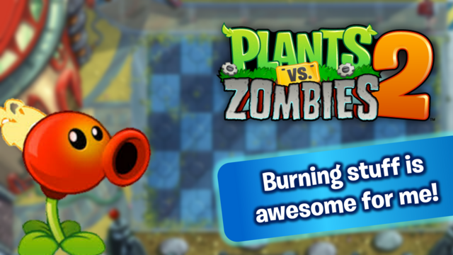 File:PvZ2Custom FlamingPeaBurningawesome WallpaperbyKh07.png