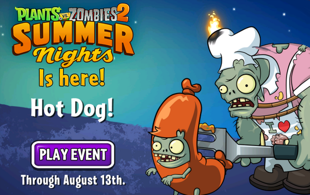 File:Plants vs Zombies 2 Summer Nights Is Here! Hot Dog! Play Event Through August 13th.png