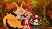 Braixen and Pancham with Serena