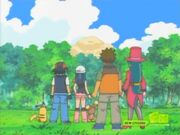 Ash and his friends saw Team Rocket Crash Landed