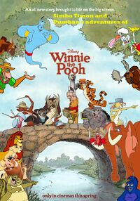 Simba, Timon, and Pumbaa's adventures of Winnie the Pooh Poster
