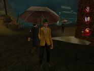 Man in raincoat with umbrella 001