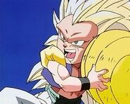 Gotenks compresses Charging Ultra Buu Buu Volleyball.