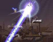 Lucario blasts Aura Storm