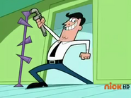Timmy's Dad wielding a monkey wrench