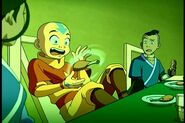 Aang Using Air Telekinesis to Stop Chicken