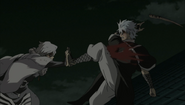 Oboro strikes Gintoki's pressure point