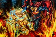 Goku vs superman commission by qbatmanp-d4be9yo