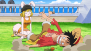 Carrot nearly killing luffy