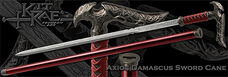 Damascus axios sword cane detail